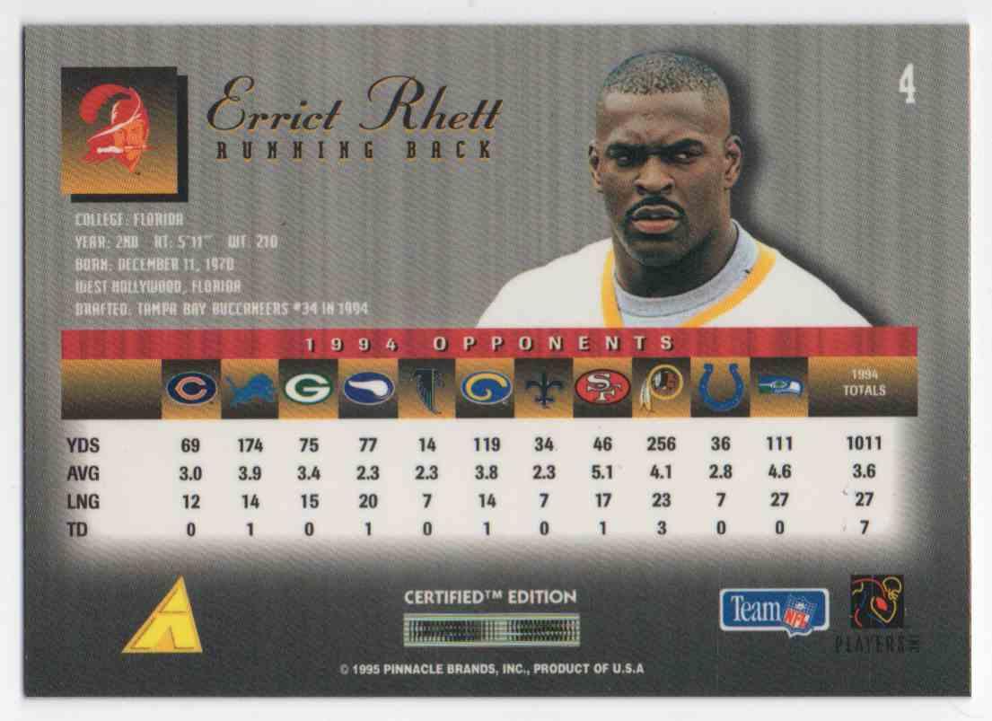 1995 Select Certified Edition Errict Rhett #4 card back image