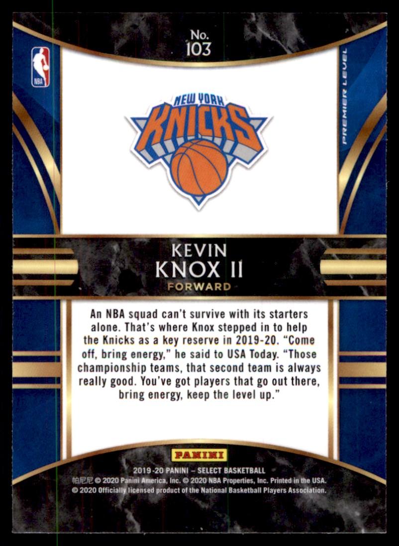 2019-20 Panini Select Kevin Knox II #103 card back image