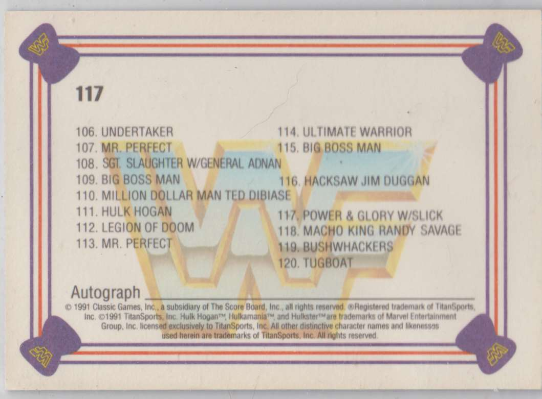 1991 Classic WWF Superstars Power & Glory W/Slick #117 card back image