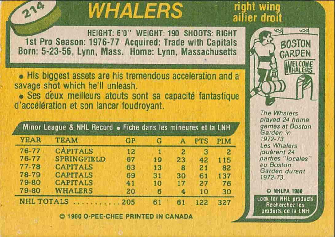 1980-81 O-Pee-Chee Tom Rowe #214 card back image