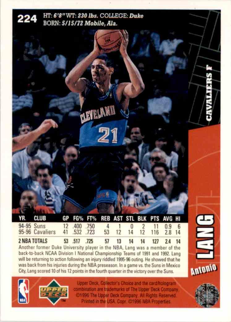1996-97 Collector's Choice Antonio Lang #224 card back image