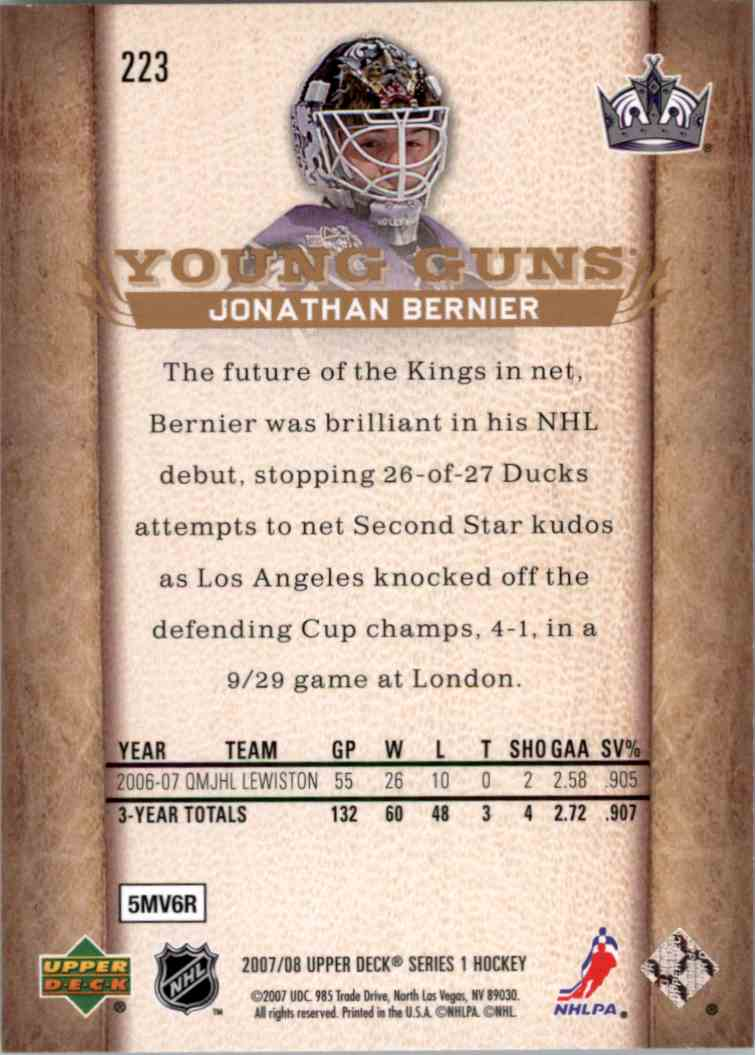 2007-08 Upper Deck Young Guns Yg Jonathan Bernier #223 card back image