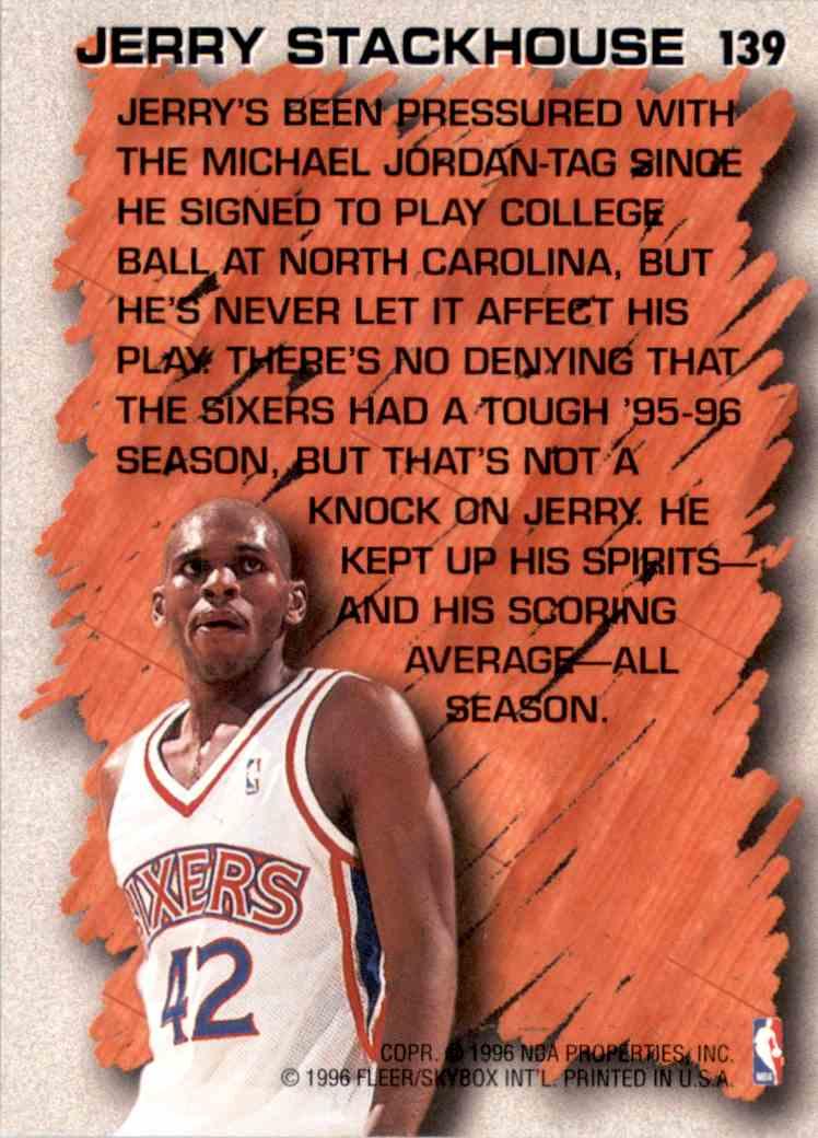 1996-97 Fleer Jerry Stackhouse Hl #139 card back image