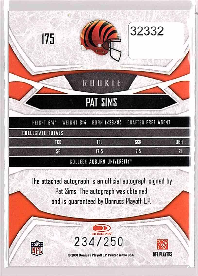 2008 Donruss Gridiron Gear Autographs Gold Holofoil Pat Sims #175 card back image