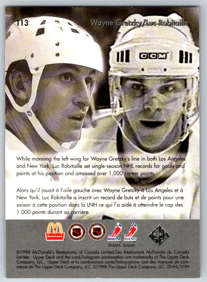 1998-99 Upper Deck McDonald's Gretzky's Teammates Luc Robitaille #T13 card back image