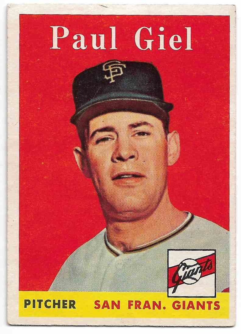 1958 Topps Paul Giel #308 card front image