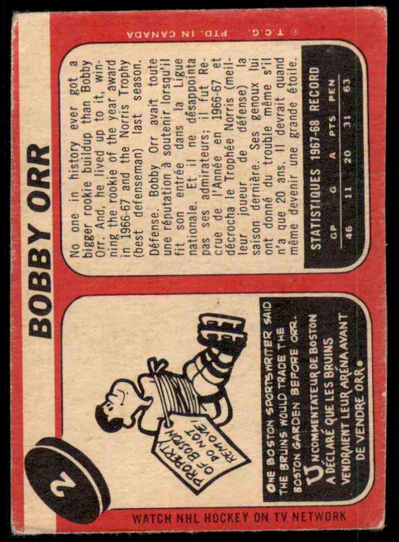 1967-68 O-Pee-Chee Bobby Orr #2 card back image