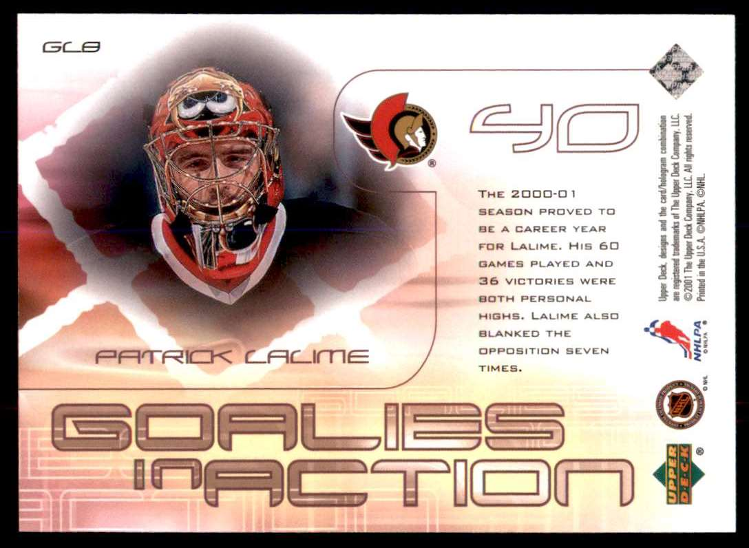2001-02 Upper Deck Goalies In Action Patrick Lalime #GC8 card back image