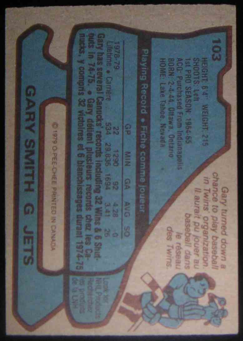 1979-80 O-Pee-Chee Gary Smith #103 card back image