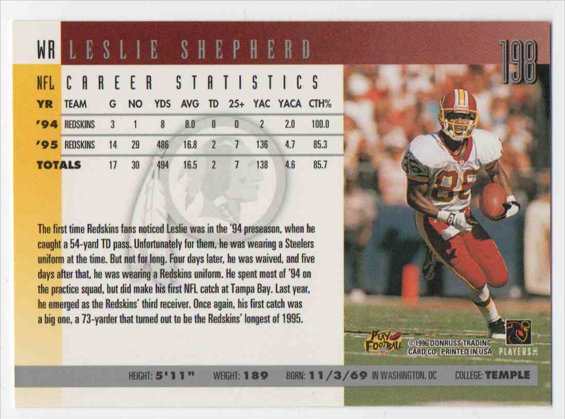 1996 Donruss Leslie Shepherd #198 card back image