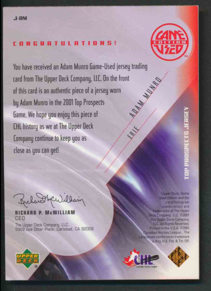 2001-02 Upper Deck CHL Prospects Adam Munro #J-AM card back image