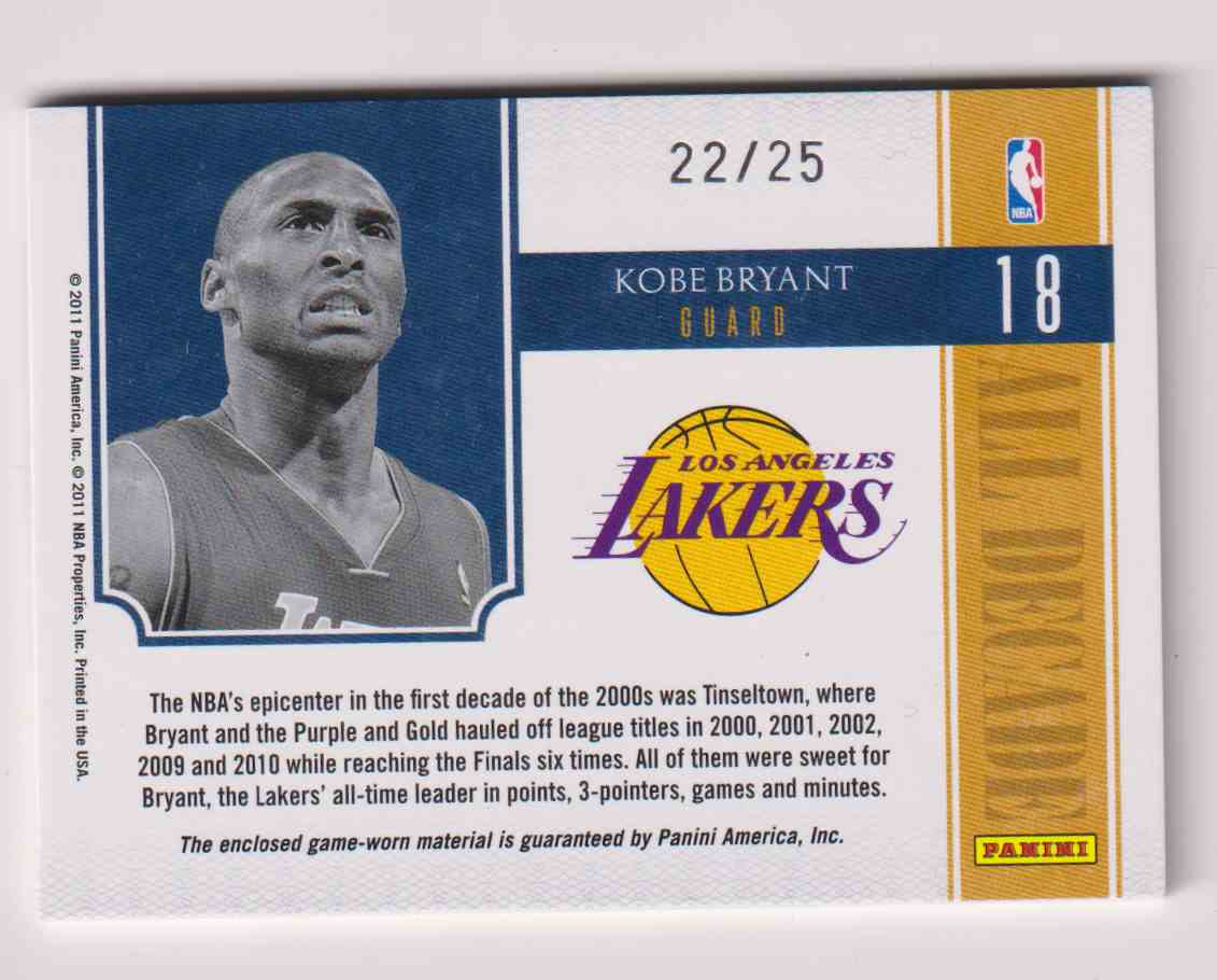 2010-11 Panini Panini National Treasures All Decade Patch Kobe Bryant #18 card back image