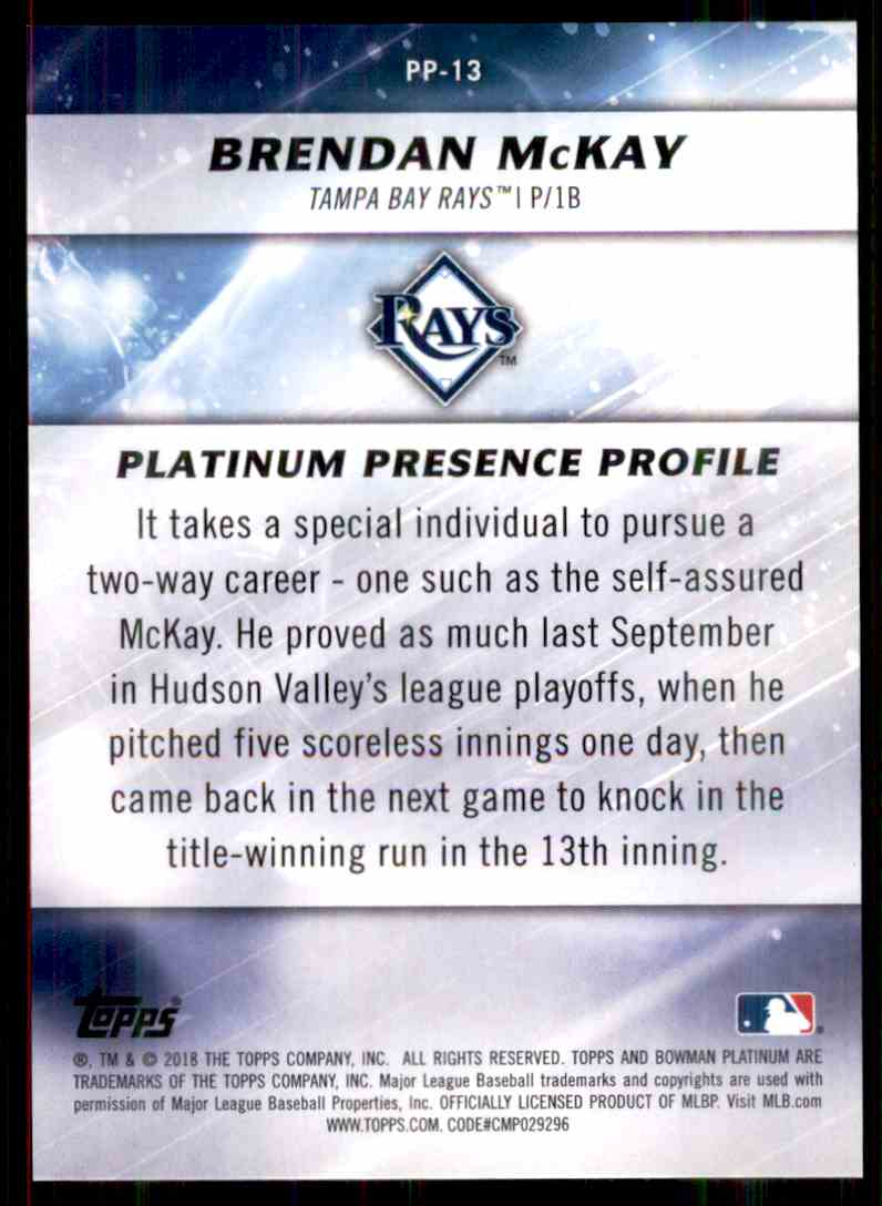 2018 Bowman Platinum Platinum Presence Purple Brendan McKay #PP-13 card back image