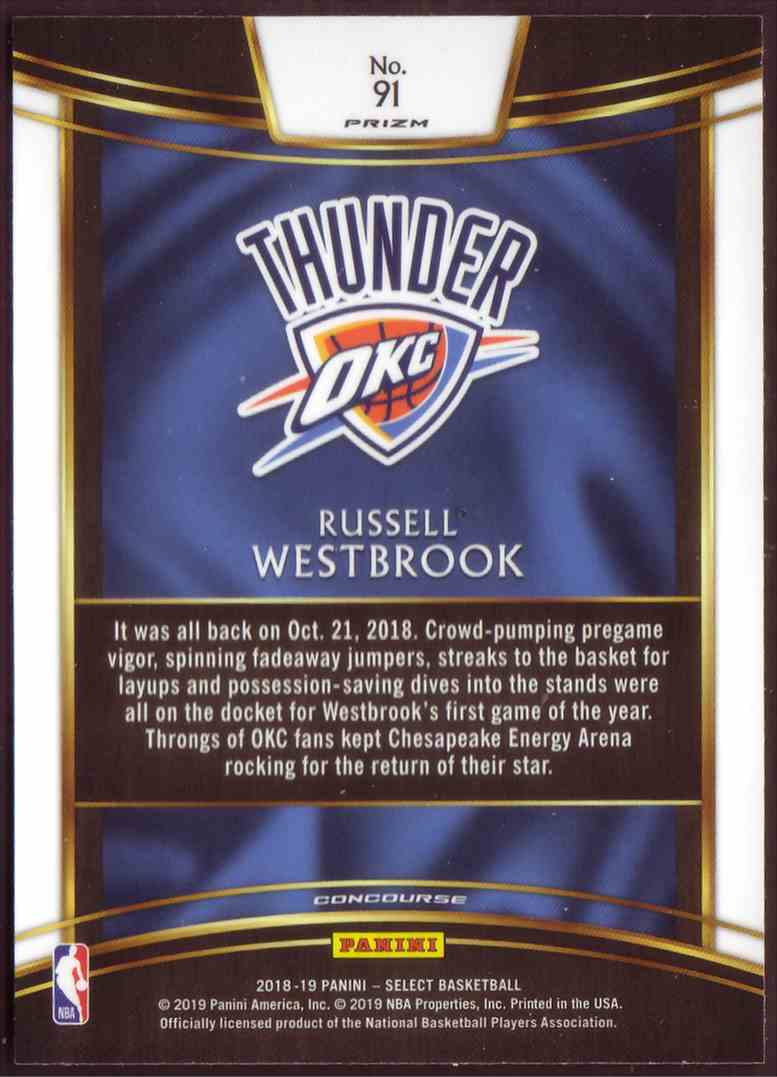 2018-19 Panini Select Base Concourse Scope Russell Westbrook #91 card back image
