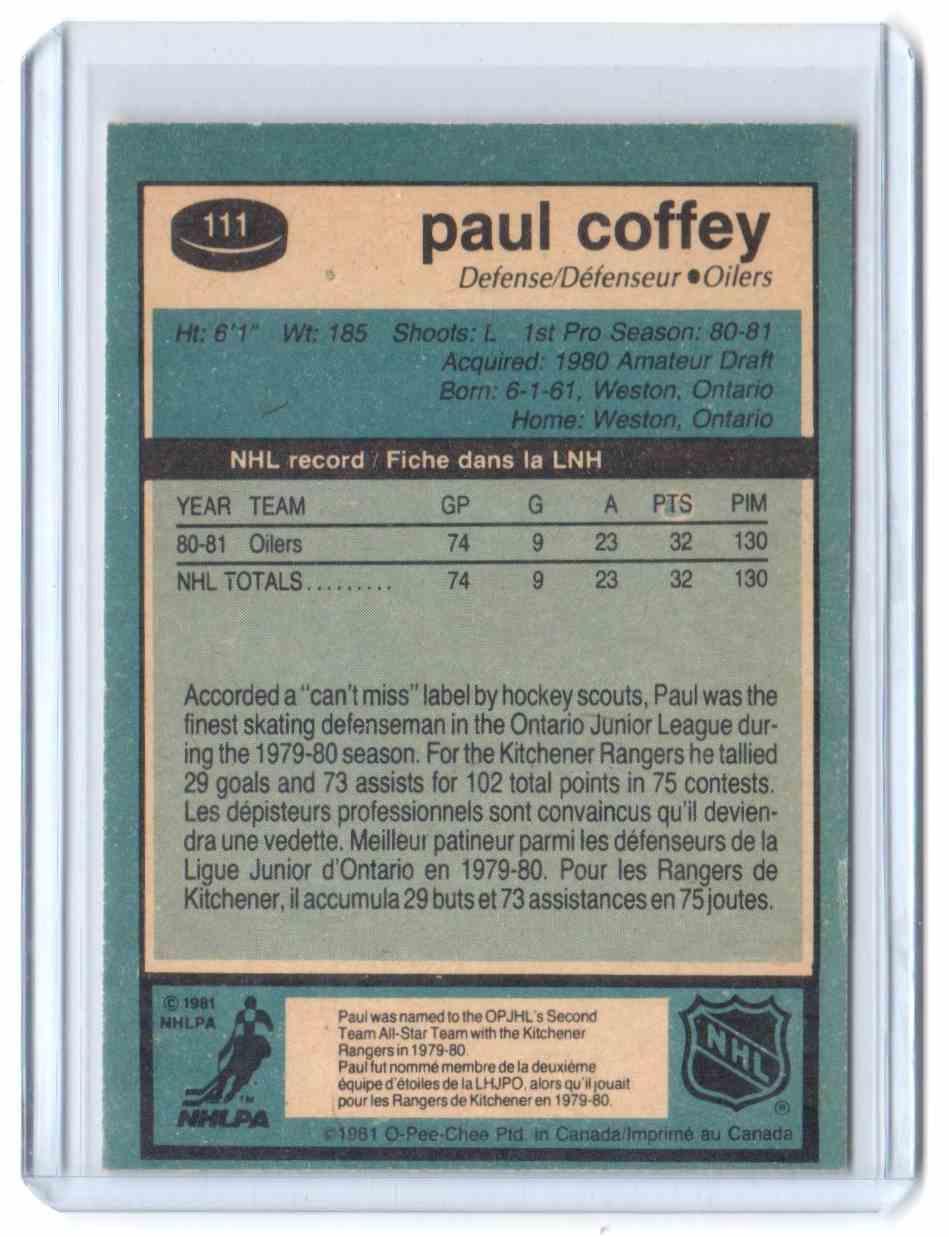 1981-82 O-Pee-Chee Paul Coffey #111 card back image
