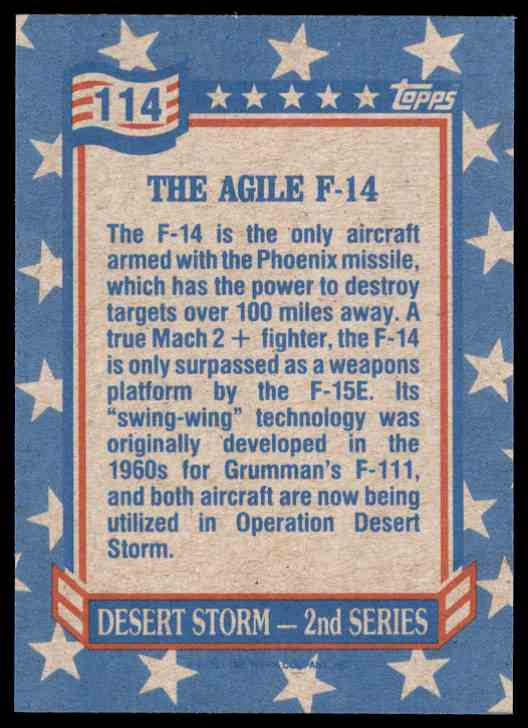 1991 Desert Storm Topps The Agile F-14 #114 card back image