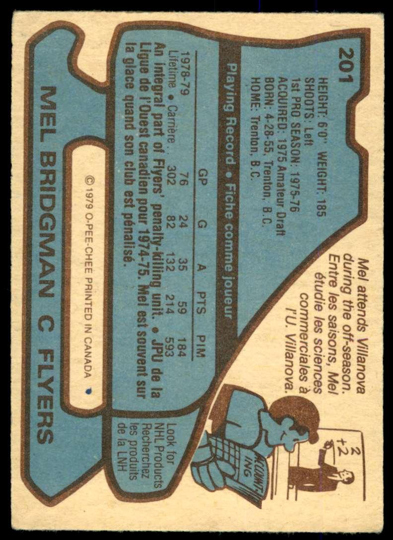 1979-80 O-Pee-Chee Mel Bridgman #201 card back image