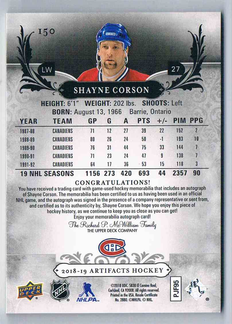 2018-19 Artifacts Material Emerald Shayne Corson #150 card back image