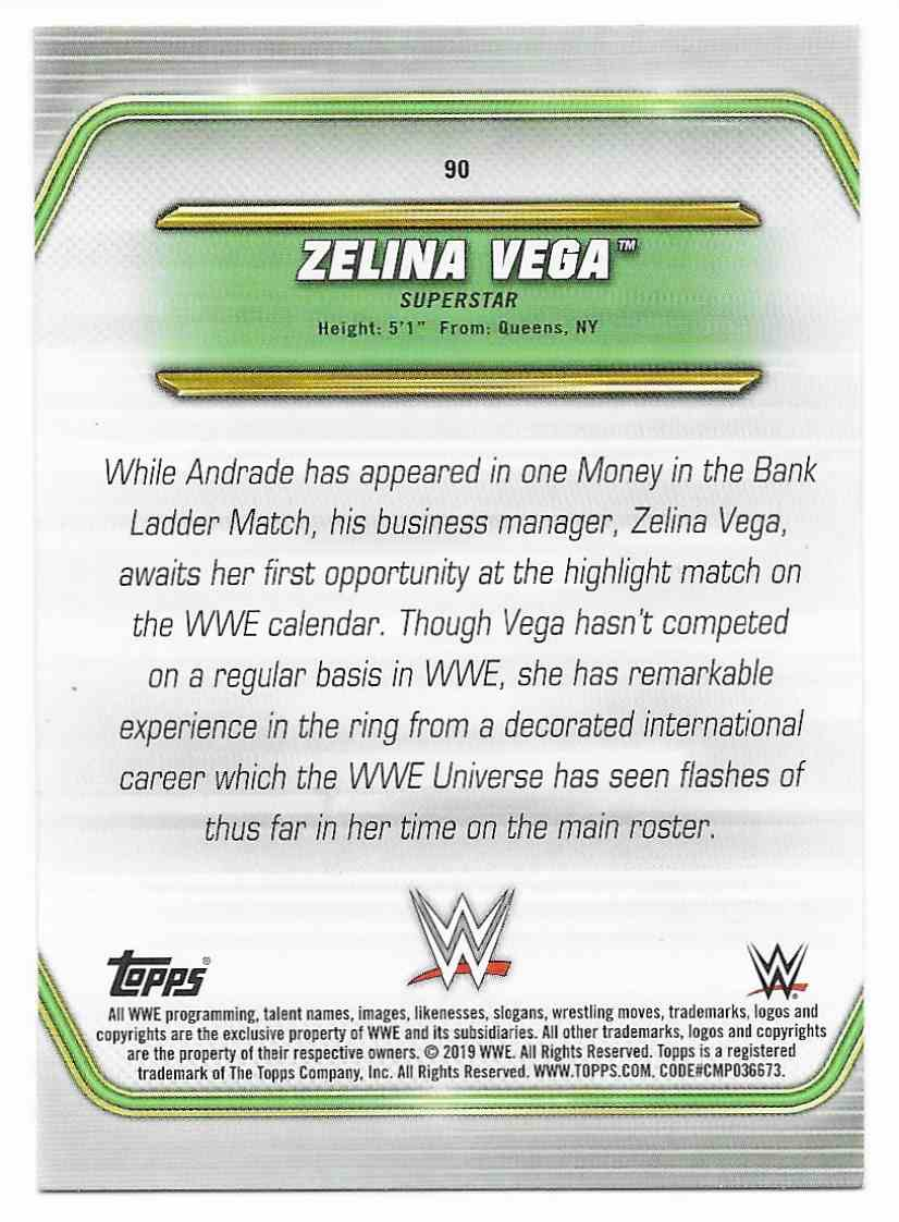 2019 Topps Wwe Money In Then Bank Zelina Vega #90 card back image