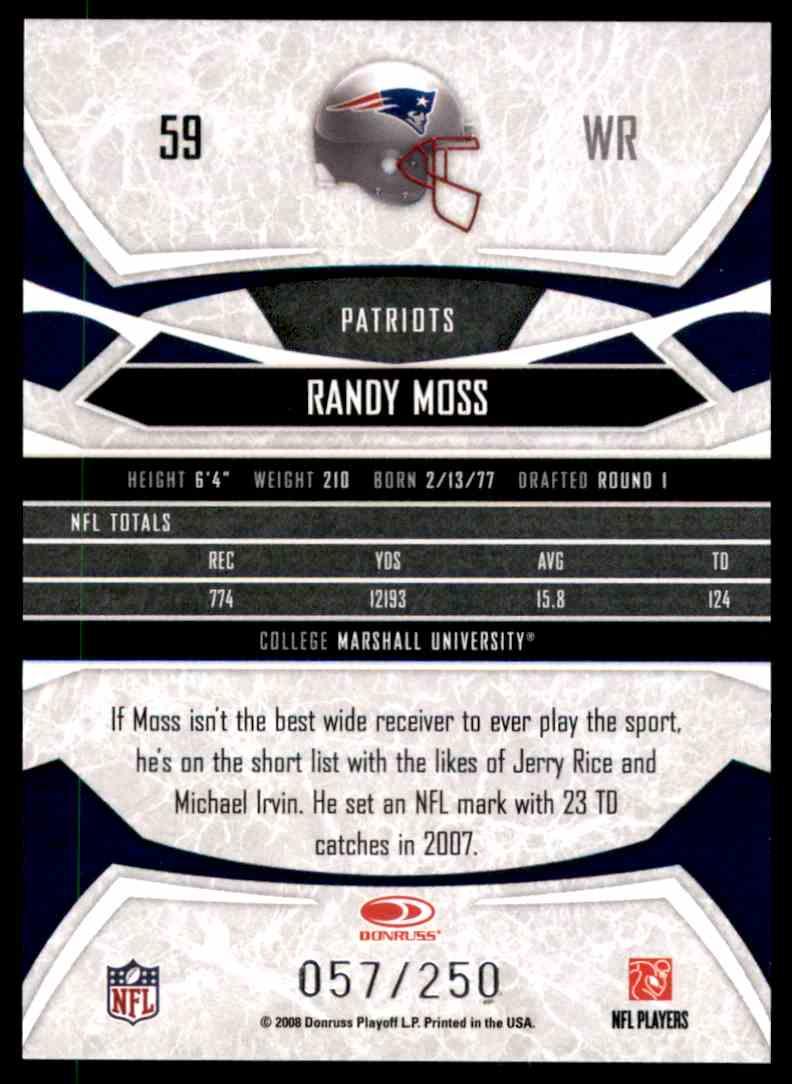 2008 Donruss Gridiron Gear Silver Holofoil O's Randy Moss #59 card back image