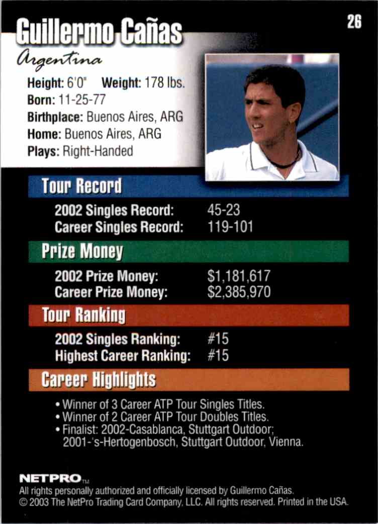 2003 NetPro Guillermo Canas RC #26 card back image