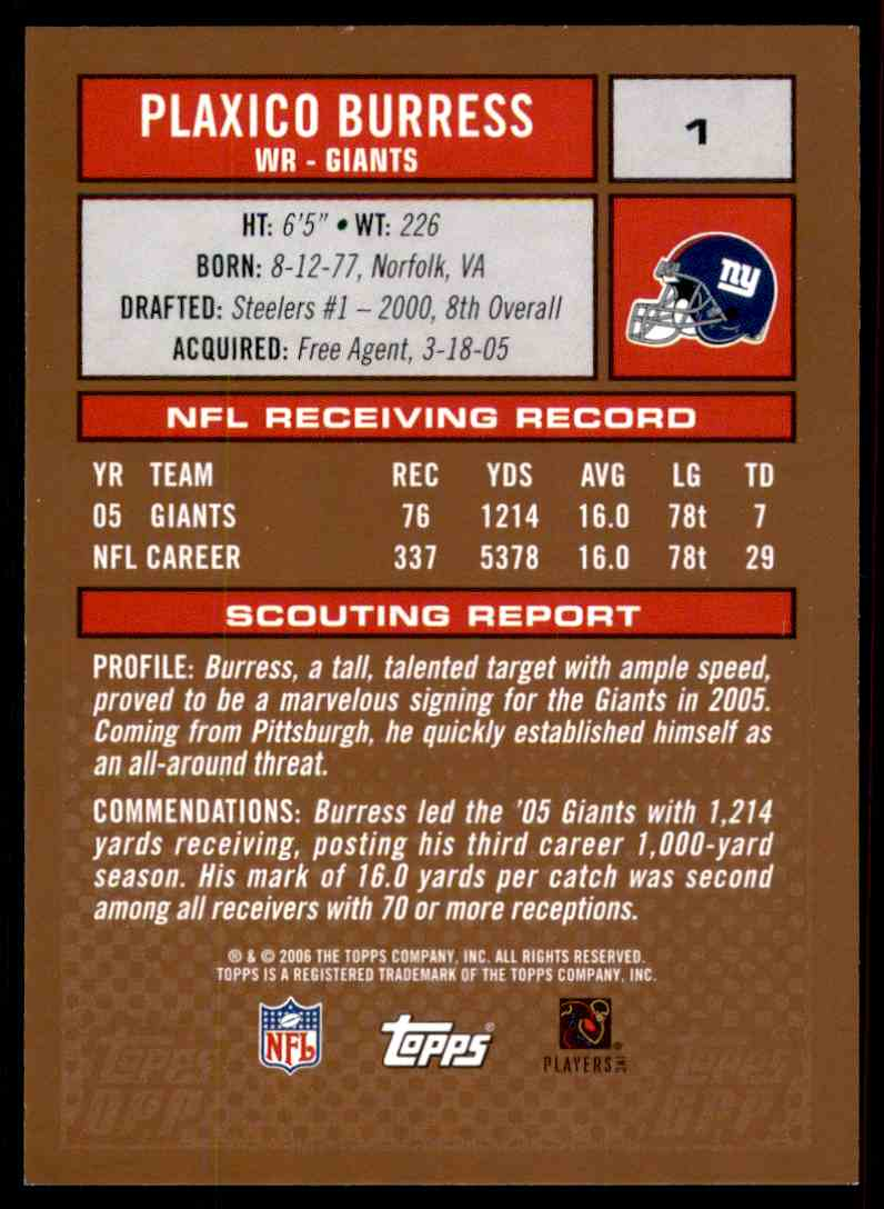 2006 Topps Draft Picks and Prospects Plaxico Burress #1 card back image
