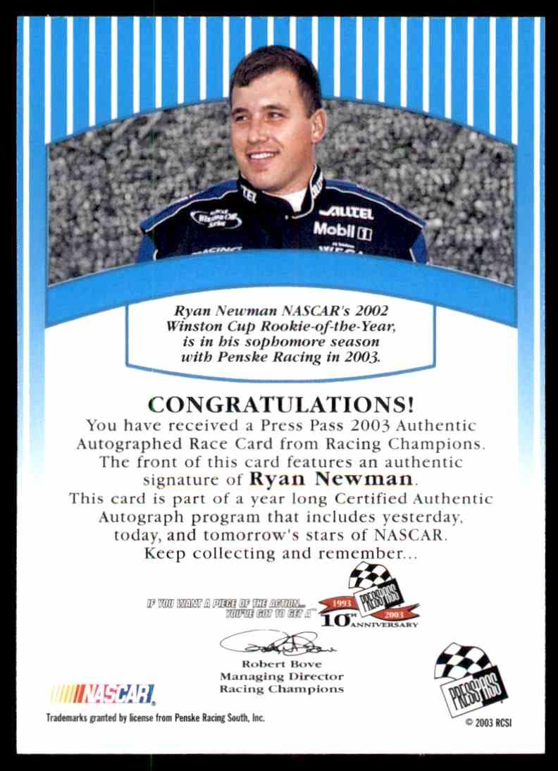 2003 Press Pass Ryan Newman card back image