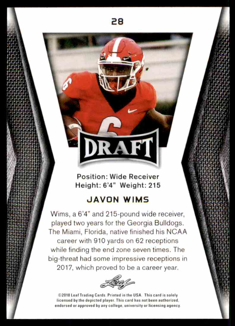 2018 Leaf Draft Javon Wims #28 card back image