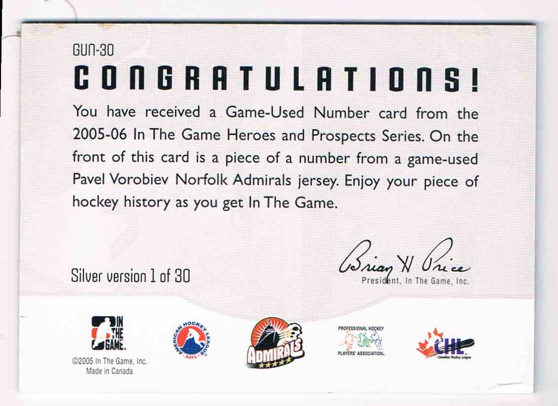 2005-06 ITG In The Game Heroes And Prospects Game-Used Number Pavel Vorobiev #GUN-30 card back image