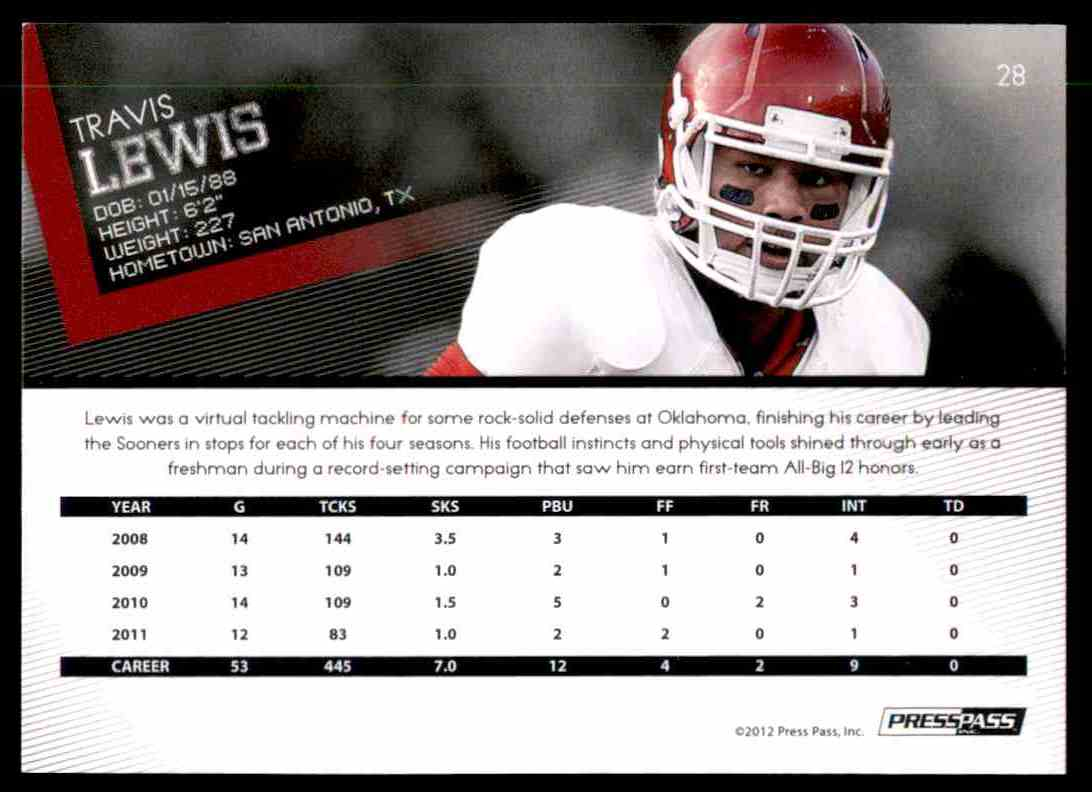 2012 Press Pass Travis Lewis #28 card back image