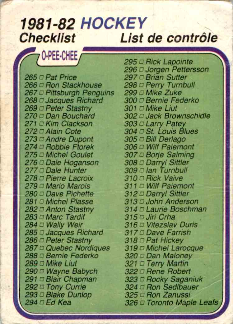 1981-82 O-Pee-Chee Checklist #381 card front image