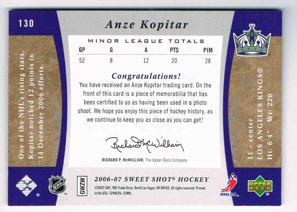 2006-07 Upper Deck Sweet Shot Authentic Rookie Jersey Anze Kopitar #130 card back image