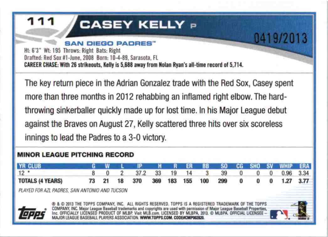 2013 Topps Casey Kelly #111 card back image