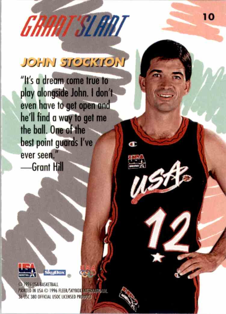 1996-97 SkyBox USA John Stockton Gs #10 card back image