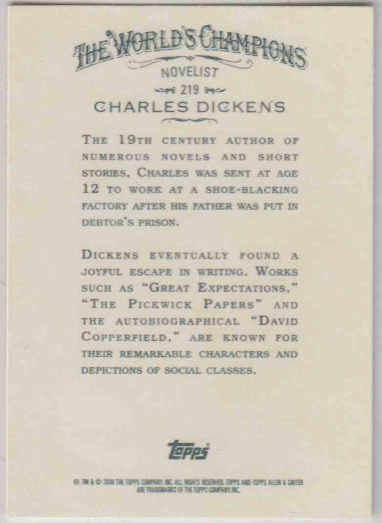 2008 Topps Allen And Ginter Charles Dickens #219 card back image