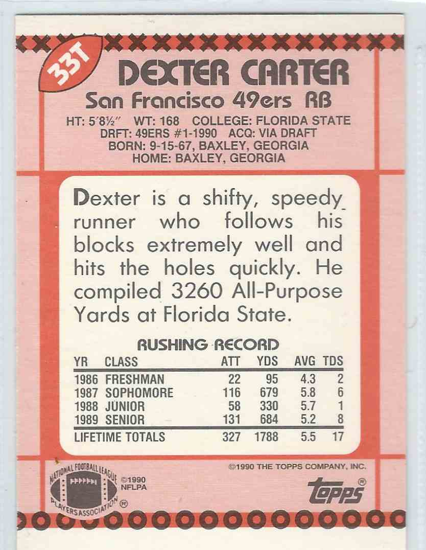 1990 Topps Traded Dexter Carter #33T card back image
