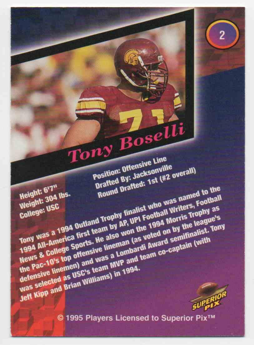 1995 Superior Pix Tony Boselli #2 card back image