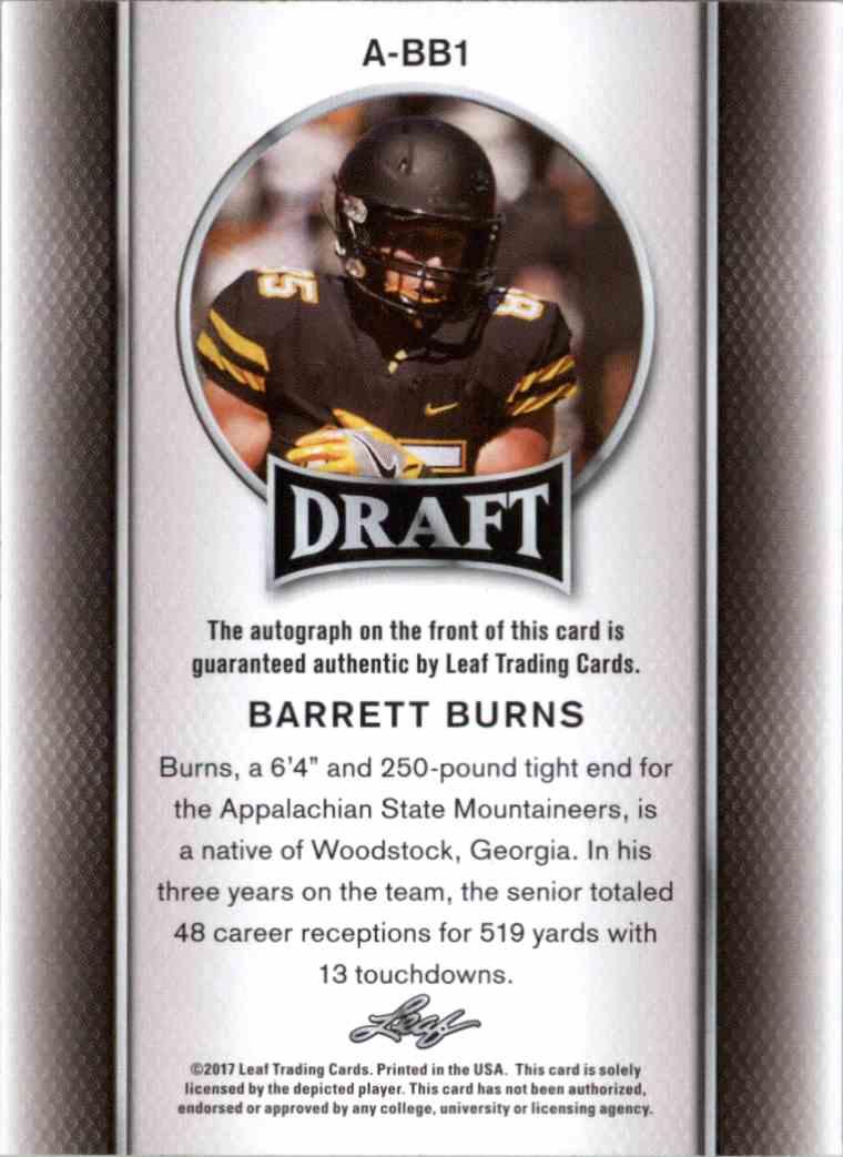 2017 Leaf Barrett Burns #A-BB1 card back image