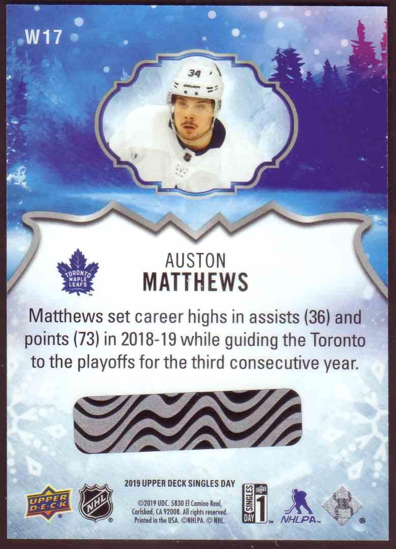 2019-20 Upper Deck Singles Day Winter Bounty Auston Matthews #W17 card back image