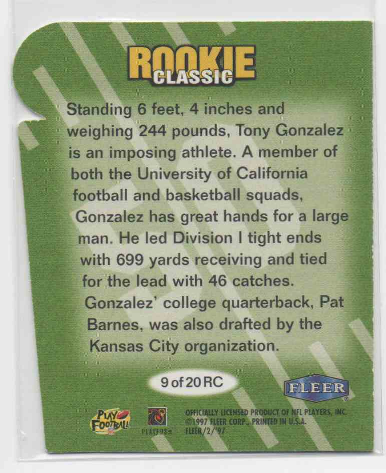 1997 Fleer Goudey Rookie Classic Tony Gonzalez #9 card back image