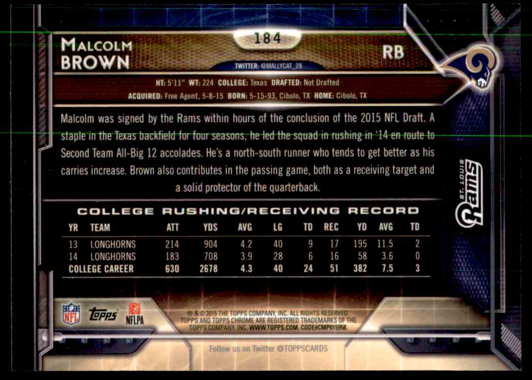 2015 Topps Chrome Refractor Macolm Brown #184 card back image