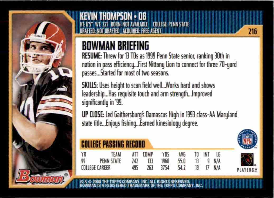 2000 Bowman Kevin Thompson RC #216 card back image