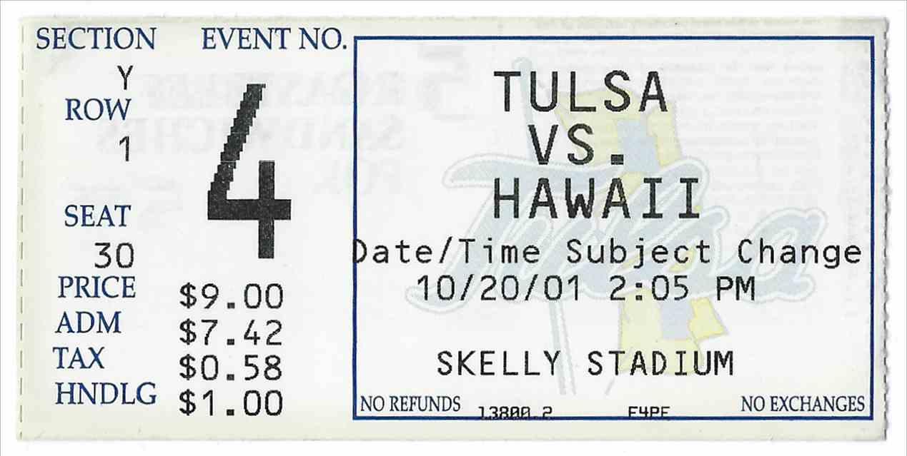 2001 College Football Ticket Stub Hawai'i Vs Tulsa card front image