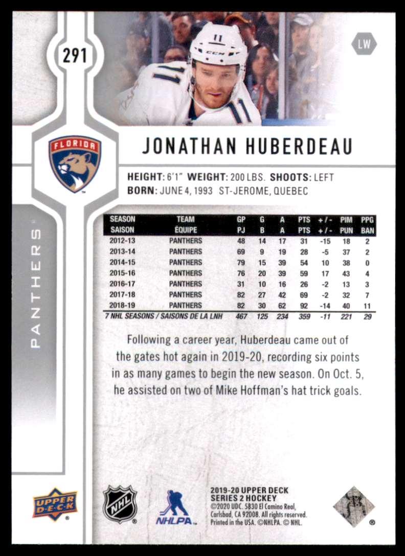 2019-20 Upper Deck Jonathan Huberdeau #291 card back image