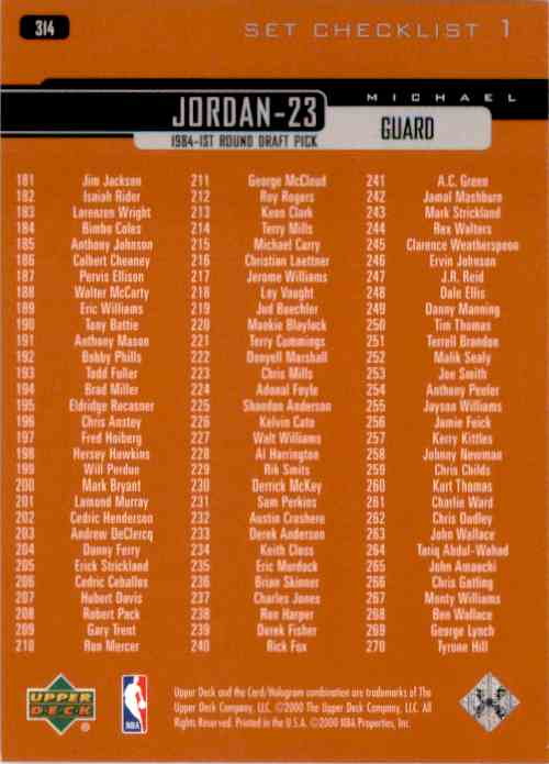 1999-00 Upper Deck Michael Jordan CL #314 card back image