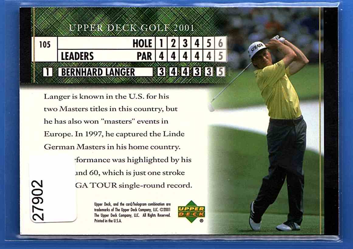 2001 Upper Deck Bernhard Langer Lb #105 card back image