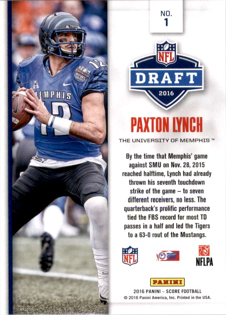 2016 Score NFL Draft Gold Paxton Lynch #1 card back image