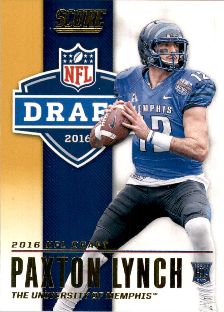 2016 Score NFL Draft Gold Paxton Lynch #1 card front image