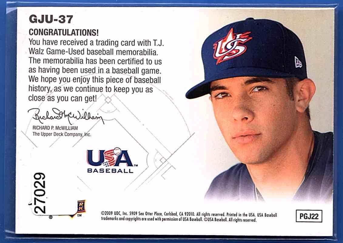 2009 Upper Deck Signature Stars USA Star Prospects Jerseys T.J. Walz #GJU37 card back image