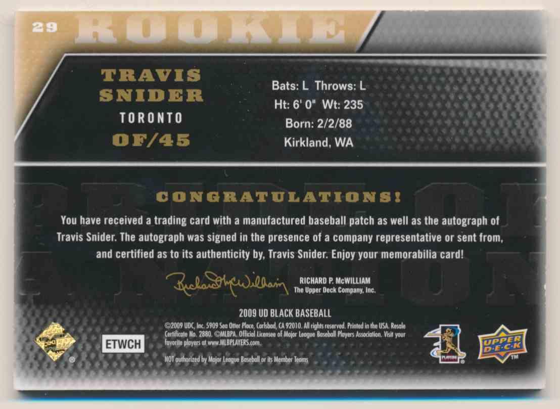 2009 Upper Deck Pride Of A Nation Travis Snider #29 card back image